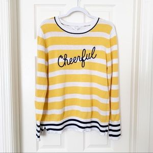 Time and Tru | 'Cheerful' Striped Graphic Sweater